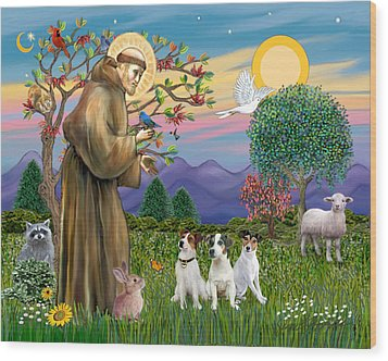 Saint Francis Blesses Three Jack Russell Terriers Wood Print