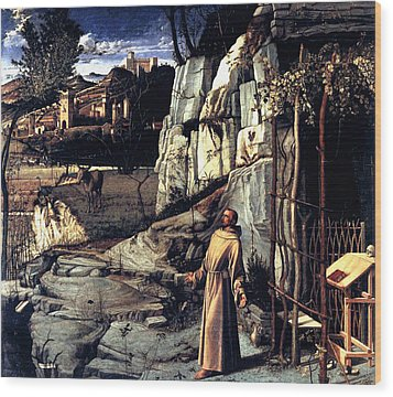 Wood Print featuring the painting Saint Francis In Ecstasy 1485 Giovanni Bellini by Karon Melillo DeVega