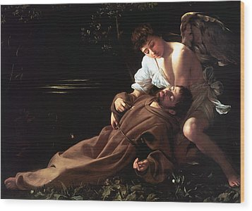 Saint Francis Of Assisi In Ecstasy Wood Print by Caravaggio
