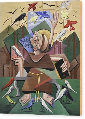Saint Francis Sermon To The Birds Wood Print by Anthony Falbo
