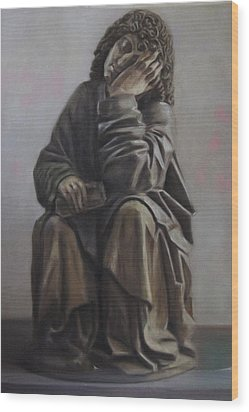 Saint John Dream Wood Print by Paez  Antonio