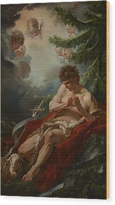 Saint John The Baptist Wood Print by Francois Boucher