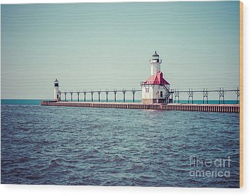 Saint Joseph Michigan Lighthouse Retro Picture  Wood Print by Paul Velgos