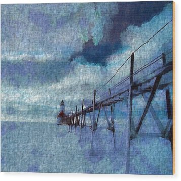 Saint Joseph Pier Lighthouse In Winter Wood Print by Dan Sproul