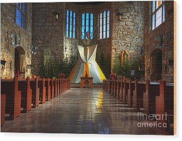 Saint Josephs Apache Mission Wood Print by Bob Christopher