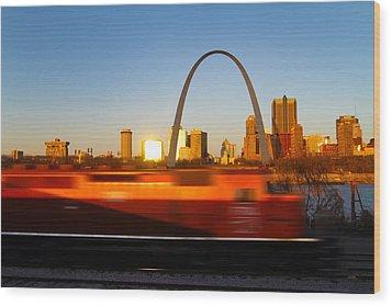 Saint Louis Morning Train Wood Print by David Yunker