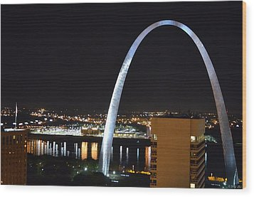 Wood Print featuring the photograph Saint Louis Skyline And Jefferson Expansion Arch by Jeff at JSJ Photography