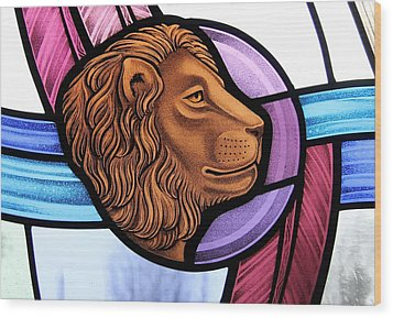 Wood Print featuring the glass art Saint Mark Lion by Gilroy Stained Glass