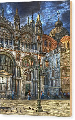 Wood Print featuring the photograph Saint Marks Square by Jerry Fornarotto