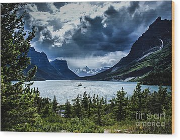 Saint Mary Lake Wood Print by Jim McCain