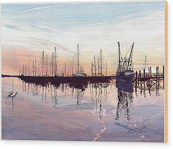 Wood Print featuring the painting Saint Marys Marina   Shadows Light And Fire by Joel Deutsch
