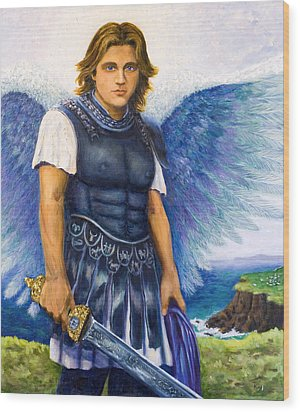 Saint Michael The Archangel Wood Print by Patty Kay Hall