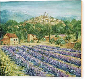 Saint Paul De Vence And Lavender Wood Print by Marilyn Dunlap
