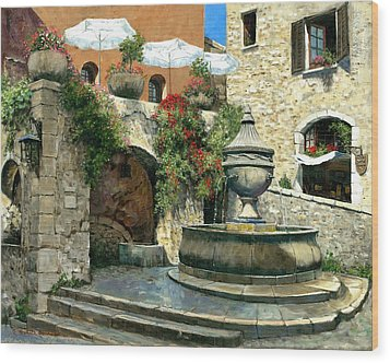 Saint Paul De Vence Fountain Wood Print by Michael Swanson