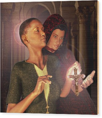 Wood Print featuring the painting Saint Perpetua And Felicity by Suzanne Silvir