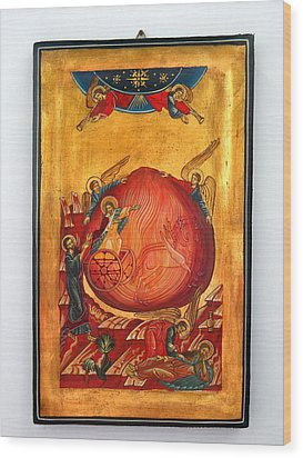 Saint Prophet Elias Hand Painted Russian Byzantine Icon  Wood Print by Denise Clemenco