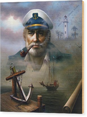 Saint Simons Island Sea Captain 2 Wood Print