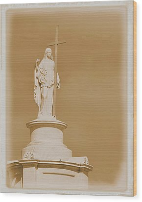 Wood Print featuring the photograph Saint With A Cross by Nadalyn Larsen
