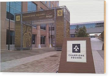 Saints - Champions Square - New Orleans La Wood Print by Deborah Lacoste