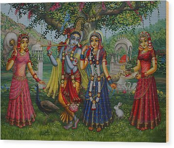 Sakhi Yugal Wood Print by Vrindavan Das