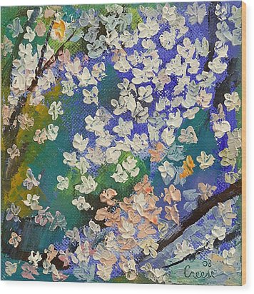 Sakura Oil Painting Wood Print by Michael Creese