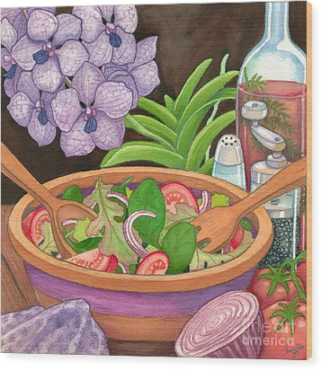 Salad And Orchids Wood Print by Tammy Yee