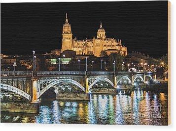 Salamanca At Night Wood Print