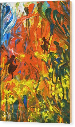 Wood Print featuring the painting Salient Celebration by Ron Richard Baviello