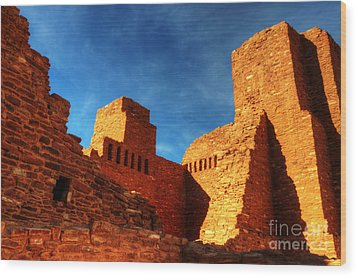 Salinas Pueblo Abo Mission Golden Light Wood Print by Bob Christopher