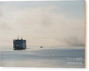 Salish Into The Fog Wood Print by Mike  Dawson