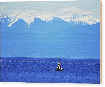 Salish Sea Sail Wood Print by Annie Pflueger