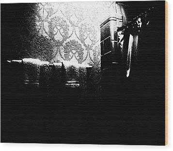 Salle De Bain Wood Print by Cleaster Cotton