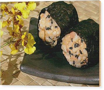 Salmon And Black Sesame Onigiri Wood Print by James Temple