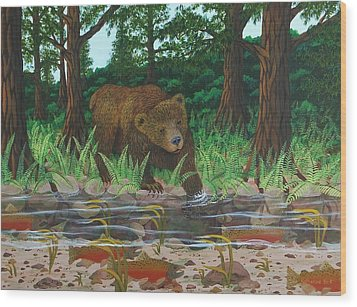 Salmon Fishing Wood Print by Katherine Young-Beck