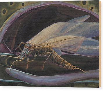 Salmon Fly Dinner Wood Print