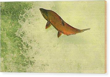 Salmon Run 3 Wood Print by Mamie Gunning