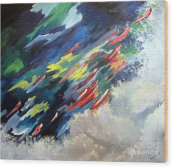 Wood Print featuring the painting Salmon Run by Carol Sweetwood