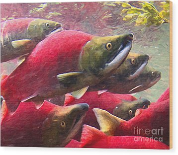 Salmon Run - Painterly Wood Print by Wingsdomain Art and Photography