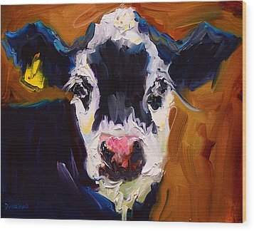 Salt And Pepper Cow 2 Wood Print