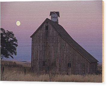 Salt Barn Mooned Wood Print