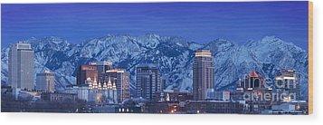 Salt Lake City Skyline Wood Print