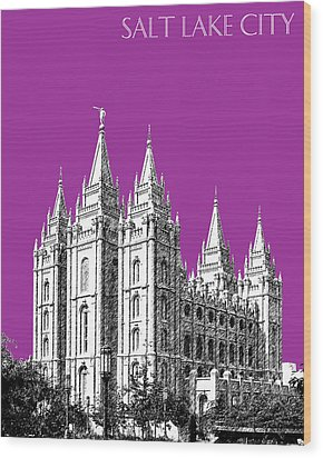 Salt Lake City Skyline Mormon Temple - Plum Wood Print by DB Artist