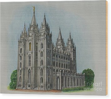 Salt Lake City Temple I Wood Print