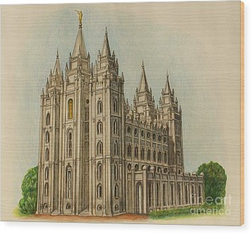 Salt Lake City Temple II Wood Print