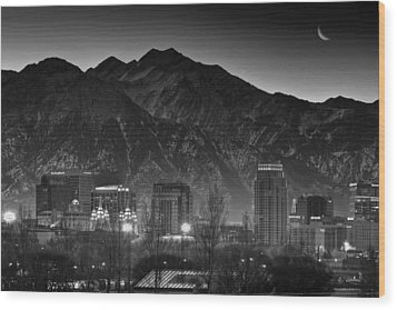 Salt Lake City Utah Skyline Wood Print
