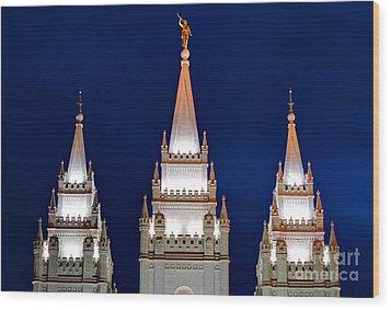 Salt Lake Lds Mormon Temple At Night Wood Print by Gary Whitton