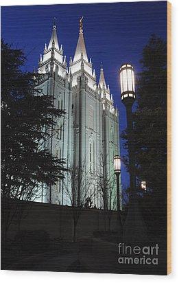 Salt Lake Mormon Temple At Night Wood Print by Gary Whitton