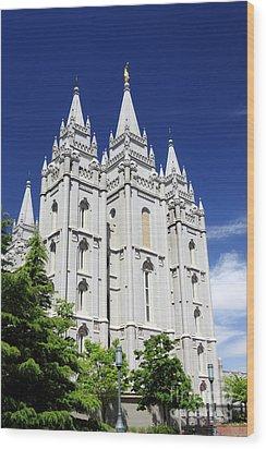 Salt Lake Mormon Temple Wood Print by Charline Xia