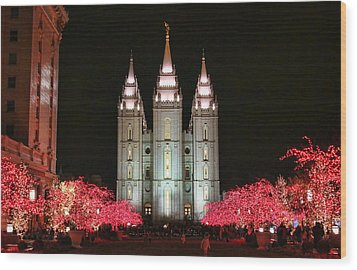 Wood Print featuring the photograph Salt Lake Temple - 1 by Ely Arsha