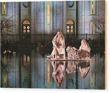 Wood Print featuring the photograph Salt Lake Temple - 2 by Ely Arsha
